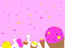 Παγωτό με το ρόδινο υπόβαθρο ελεύθερη απεικόνιση δικαιώματος
