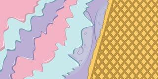 Παγωτό μούρων με την απεικόνιση βαφλών διανυσματική απεικόνιση