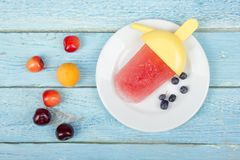 Παγωτό _ Σπιτικό κεράσι, σταφίδα, βακκίνια, ριβήσια, σμέουρα, βατόμουρα, φράουλες στοκ φωτογραφία