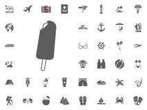 Παγωτό στο ξύλινο εικονίδιο ραβδιών Καλοκαιρινές διακοπές και διακινούμενα διανυσματικά εικονίδια καθορισμένες Στοκ Εικόνα