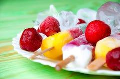 Παγωτό φρούτων και νωποί καρποί, σε μια ξύλινη περίληψη backgroun Στοκ εικόνα με δικαίωμα ελεύθερης χρήσης