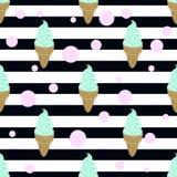 Παγωτό, φυσαλίδα και λωρίδες μεντών Στοκ Εικόνα