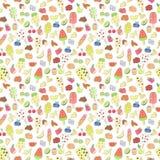 Παγωτό Doodle, φρούτα, μούρο, σχέδιο γλυκών Στοκ φωτογραφίες με δικαίωμα ελεύθερης χρήσης