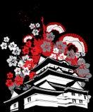 Παγόδα της Ιαπωνίας με το διάνυσμα ανεμιστήρων λουλουδιών sakura Στοκ Εικόνα