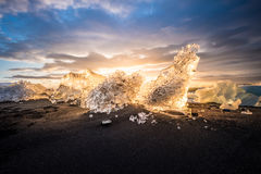 Παγώνει στην παραλία Jokulsarlon στη νοτιοανατολική Ισλανδία Στοκ Εικόνα
