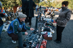 Παζαριών με τους πωλητές και τους πελάτες, Tbilisi, Γεωργία Στοκ εικόνα με δικαίωμα ελεύθερης χρήσης