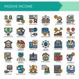 Παθητικό εισόδημα, τέλεια εικονίδια εικονοκυττάρου απεικόνιση αποθεμάτων