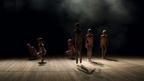 Παιδάκια που χορεύουν στη σκηνή στο σκοτεινό, αργό MO απόθεμα βίντεο