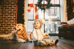 Παιδί ατόμων φιλίας και κατοικίδιο ζώο σκυλιών Θέματος χειμερινές διακοπές έτους Χριστουγέννων νέες Το αγοράκι που σέρνεται μαθαί στοκ εικόνα