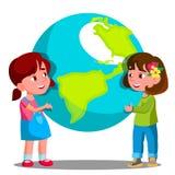 Παιδί δύο κοριτσιών που κρατά το γήινο διάνυσμα απεικόνιση διανυσματική απεικόνιση