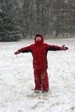 παιδί που απολαμβάνει τις μικρές χιονοπτώσεις Στοκ εικόνα με δικαίωμα ελεύθερης χρήσης