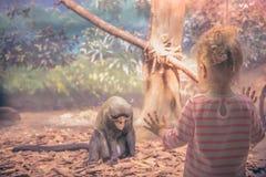 Παιδί που εξετάζει το λυπημένο ζωικό πίθηκο στην αιχμαλωσία στοκ φωτογραφία με δικαίωμα ελεύθερης χρήσης