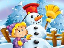Παιδί που κάνει τον ευτυχή και μεγάλο χιονάνθρωπο Στοκ Φωτογραφία