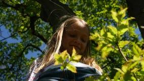 Παιδί που παίζει αναρριμένος στο δέντρο υπαίθριο στο πάρκο, πορτρέτο μικρών κοριτσιών γέλιου απόθεμα βίντεο