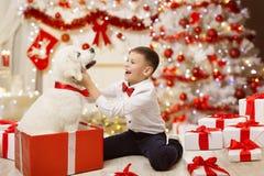 Παιδί που παίρνει το παρόν, ευτυχές αγόρι παιδιών σκυλιών Χριστουγέννων, χριστουγεννιάτικο δέντρο στοκ φωτογραφία