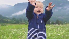 Παιδί που περπατά και μόνο βουνό παιχνιδιού υπαίθρια απόθεμα βίντεο