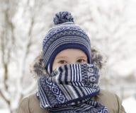 Παιδί το χειμώνα, πορτρέτο Στοκ φωτογραφία με δικαίωμα ελεύθερης χρήσης