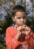 παιδί φυσαλίδων υπαίθριο Στοκ Εικόνες