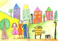 Παιδί ` s που σύρει τον ευτυχή οικογενειακό περίπατο υπαίθρια από κοινού διανυσματική απεικόνιση
