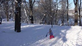 Παιδί Sledding στο χιόνι, παιχνίδι μικρών κοριτσιών το χειμώνα, παιδί Sledging στο πάρκο 4K φιλμ μικρού μήκους