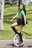 Παιδί Unicyclist στοκ εικόνες