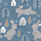 Παιδαριώδες άνευ ραφής σχέδιο με τα κουνέλια απεικόνιση χειμερινού σχεδίου για το ύφασμα, κλωστοϋφαντουργικό προϊόν, ταπετσαρία,  διανυσματική απεικόνιση