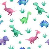 Παιδαριώδες άνευ ραφής σχέδιο Watercolor με τους δεινοσαύρους και τις εγκαταστάσεις στοκ εικόνες
