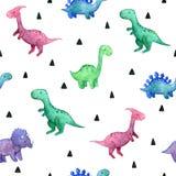 Παιδαριώδες άνευ ραφής σχέδιο Watercolor με τους δεινοσαύρους στοκ εικόνες