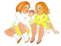 Παιδαριώδης πλεονεξία, wo κορίτσια που τρώνε το ψωμί με το wurst ελεύθερη απεικόνιση δικαιώματος