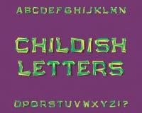 Παιδαριώδης χαρακτήρας επιστολών Πηγή κινούμενων σχεδίων Απομονωμένο αγγλικό αλφάβητο Στοκ εικόνα με δικαίωμα ελεύθερης χρήσης