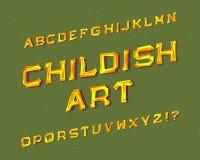 Παιδαριώδης χαρακτήρας τέχνης Πηγή γκράφιτι Απομονωμένο αγγλικό αλφάβητο Στοκ Εικόνα