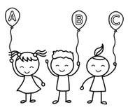 Παιδιά αλφάβητου Παιδιά που χρωματίζουν τη σελίδα ευτυχή κατσίκια κινούμε&nu Στοκ Φωτογραφία