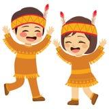 Παιδιά αμερικανών ιθαγενών ημέρας των ευχαριστιών διανυσματική απεικόνιση