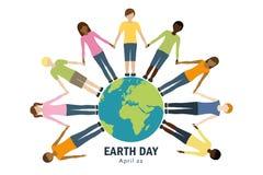 Παιδιά γήινης ημέρας σε όλο τον κόσμο διανυσματική απεικόνιση