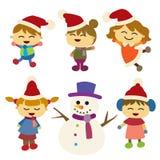 Παιδιά ευχαριστημένα από το παρόν τους εικόνα σχεδίου Χριστουγέννων ελέγχων ιστορικού το χαρτοφυλάκιό μου παρόμοιο Στοκ φωτογραφία με δικαίωμα ελεύθερης χρήσης