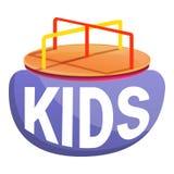 Παιδιά εύθυμος-πηγαίνω-γύρω από το λογότυπο, ύφος κινούμενων σχεδίων διανυσματική απεικόνιση