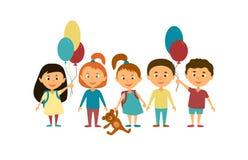 Παιδιά ζωηρόχρωμη γραφική απεικόνιση παιδιών χαρακτηρών κινουμένων σχεδίων Στοκ Φωτογραφίες