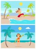 Παιδιά θερινών διακοπών που έχουν τη διασκέδαση στις διακοπές καθορισμένες διανυσματική απεικόνιση