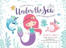 Παιδιά κάτω από την κάρτα πρόσκλησης γιορτών γενεθλίων θάλασσας απεικόνιση αποθεμάτων
