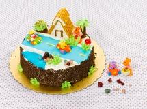παιδιά κέικ γενεθλίων Στοκ Εικόνα