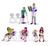 Παιδιά και γονείς μέσα στη αίθουσα αναμονής Ελεύθερη απεικόνιση δικαιώματος