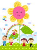 Παιδιά και λουλούδι διανυσματική απεικόνιση