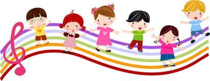 Παιδιά και μουσική διανυσματική απεικόνιση