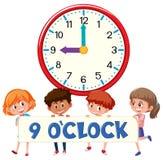 Παιδιά και ρολόι 9 ρολόι ο ` απεικόνιση αποθεμάτων