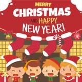 Παιδιά και Χριστούγεννα Επίπεδος χαρακτήρας σχεδίου Στοκ Φωτογραφίες