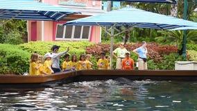 Παιδιά καλοκαιρινό εκπαιδευτικό κάμπινγκ που χαιρετούν το δελφίνι, ενώ κινούν τα πτερύγιά τους σε Seaworld απόθεμα βίντεο