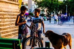 Παιδιά με τα σκυλιά οδών στην τουρκική θερινή πόλη - Τουρκία Στοκ Φωτογραφία