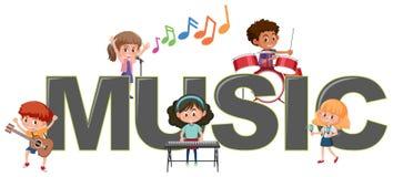 Παιδιά με το εικονίδιο μουσικής ελεύθερη απεικόνιση δικαιώματος