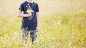 Παιδιά που επιλέγουν τα λουλούδια σε ένα λιβάδι στοκ εικόνα με δικαίωμα ελεύθερης χρήσης
