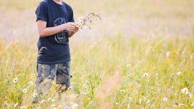 Παιδιά που επιλέγουν τα λουλούδια σε ένα λιβάδι στοκ εικόνες